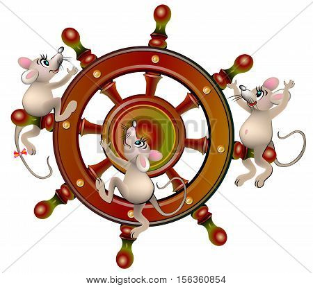Illustration of three mouse climbing to the steering wheel, vector cartoon image.