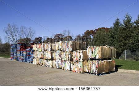 Spencer Wisconsin - November 13 2016 Several bundles of paper and cardoard ready for recycling
