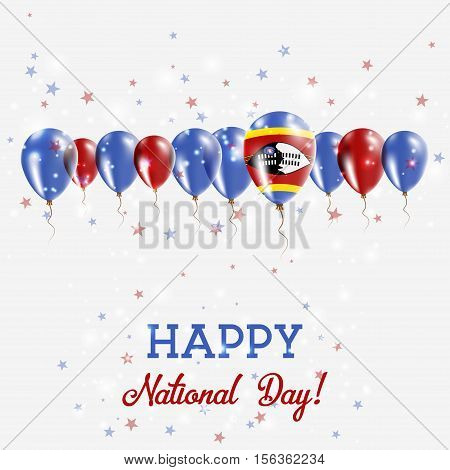 Swaziland Independence Day Sparkling Patriotic Poster. Happy Independence Day Card With Swaziland Fl