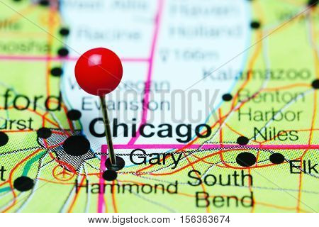 Gary pinned on a map of Indiana, USA