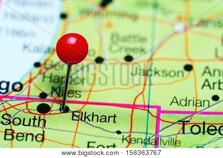 Elkhart pinned on a map of Indiana, USA
