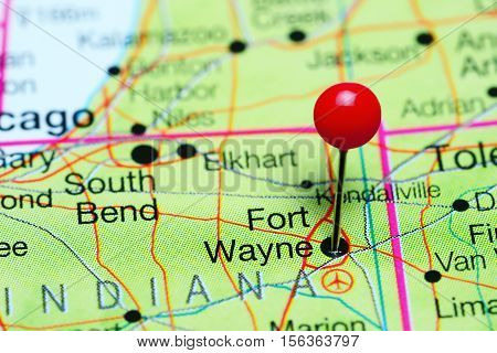 Fort Wayne pinned on a map of Indiana, USA