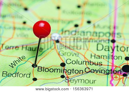 Bloomington pinned on a map of Indiana, USA