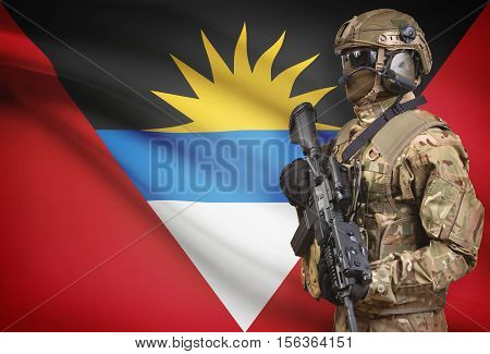 Soldier In Helmet Holding Machine Gun With Flag On Background Series - Antigua And Barbuda