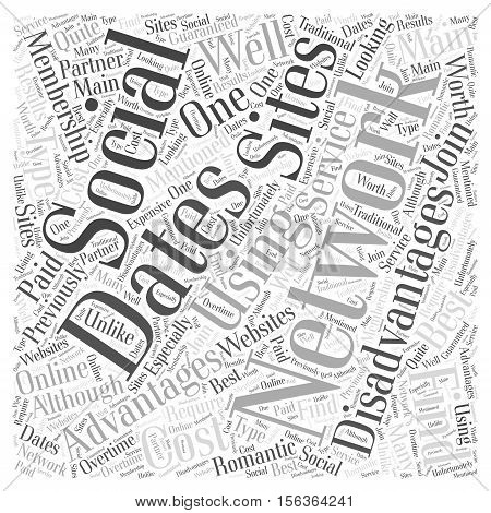The Advantages and Disadvantages to Using Social Networking Sties to Find Dates word cloud concept