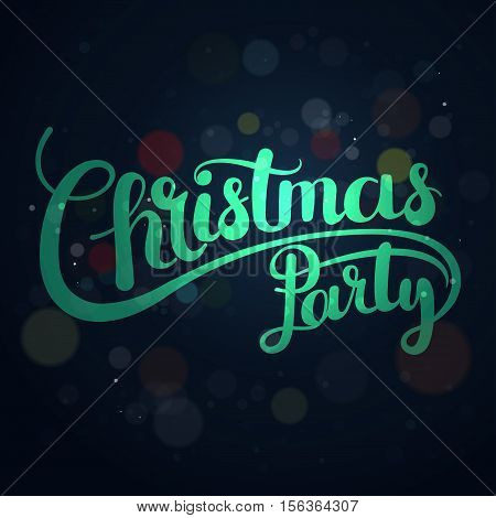 Christmas party lettering elegant lettering for invitations festive posters on the beautiful background vector
