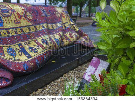 Sainte-Geneviève-des-Bois, France - June 2016: Rudolf Nureyev grave at Russian Orthodox cemetery