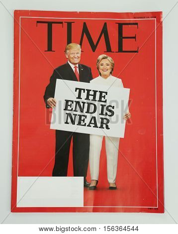 BROOKLYN, NEW YORK - NOVEMBER 13, 2016: Time magazine issued before 2016 Presidential election on display in Brooklyn, New York after Election Day 2016