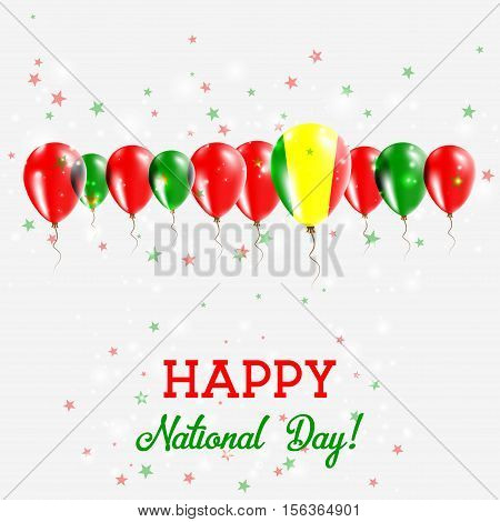 Mali Independence Day Sparkling Patriotic Poster. Happy Independence Day Card With Mali Flags, Confe