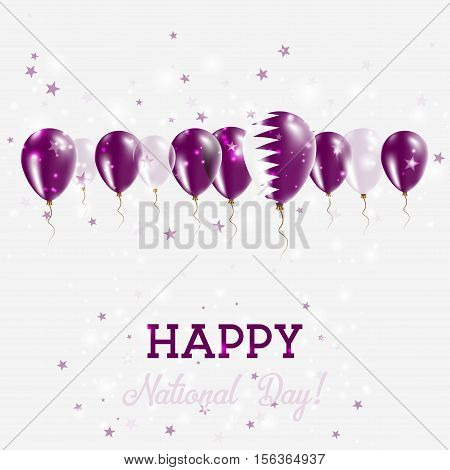 Qatar Independence Day Sparkling Patriotic Poster. Happy Independence Day Card With Qatar Flags, Con