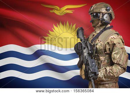 Soldier In Helmet Holding Machine Gun With Flag On Background Series - Kiribati
