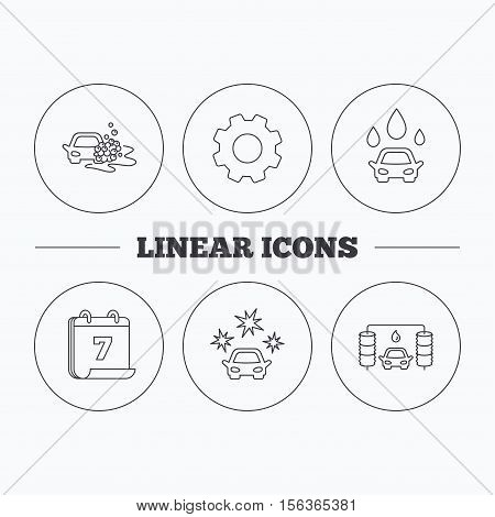 Car wash icons. Automatic cleaning station linear signs. Clean car, automatic carwash flat line icons. Flat cogwheel and calendar symbols. Linear icons in circle buttons. Vector
