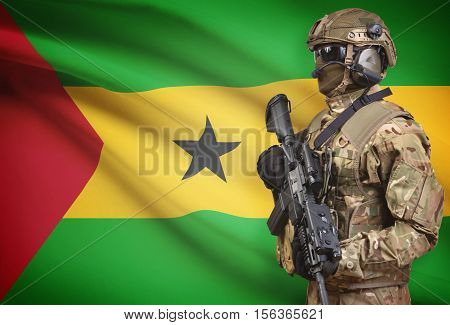 Soldier In Helmet Holding Machine Gun With Flag On Background Series - Sao Tome And Principe