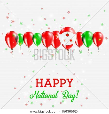 Burundi Independence Day Sparkling Patriotic Poster. Happy Independence Day Card With Burundi Flags,
