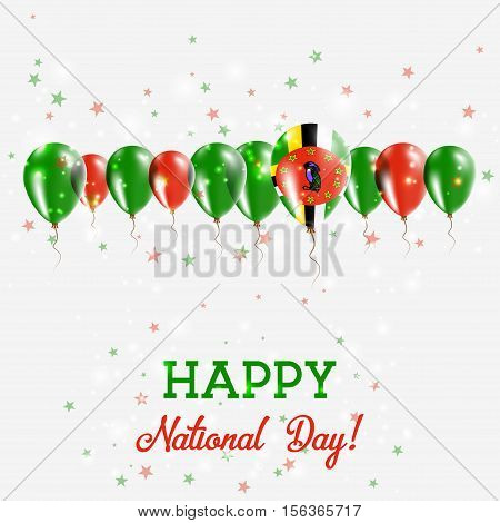Dominica Independence Day Sparkling Patriotic Poster. Happy Independence Day Card With Dominica Flag