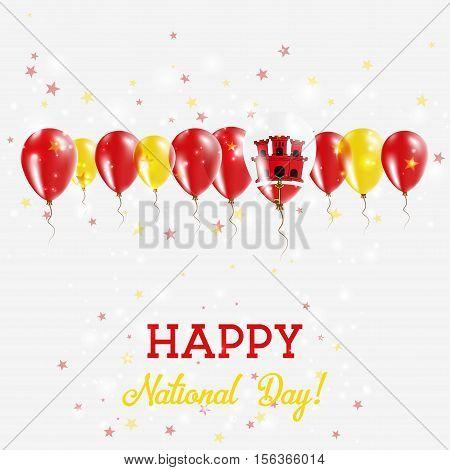 Gibraltar Independence Day Sparkling Patriotic Poster. Happy Independence Day Card With Gibraltar Fl