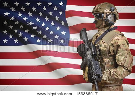 Soldier In Helmet Holding Machine Gun With Flag On Background Series - United States