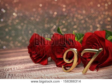 birthday concept with red roses on wooden desk. 3D render - ninety-seventh birthday. 97th