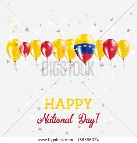 Venezuela, Bolivarian Republic Of Independence Day Sparkling Patriotic Poster. Happy Independence Da