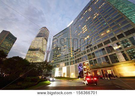 SHANGHAI - NOV 5, 2015: IFC residence hotel with illumination at autumn evening