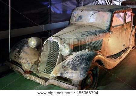 MOSCOW - MAR 07, 2016: Retro car Talbot on exhibition Oldtimer-Gallery in Sokolniki Exhibition Center. Text - dream of 55 year old man. It is only one in Russia exhibition of vintage cars