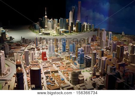 SHANGHAI, CHINA - NOV 7, 2015: Miniature of city at day in Shanghai tower, Shanghai - financial and commercial center of China