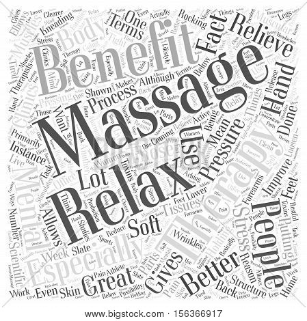 The benefits of massage therapy word cloud concept