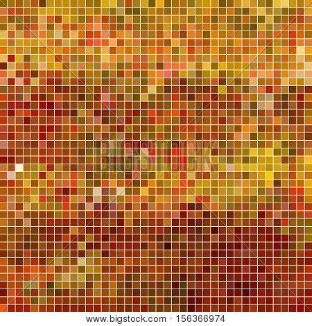 abstract vector square pixel mosaic background - orange