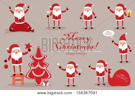 Collection Santa Claus for Christmas. Characters cute flat. Funny cartoon characters with different emotions. Santa Claus is ready to the new year.