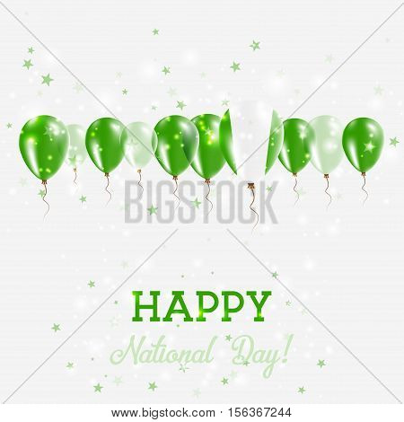 Nigeria Independence Day Sparkling Patriotic Poster. Happy Independence Day Card With Nigeria Flags,