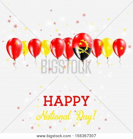 Angola Independence Day Sparkling Patriotic Poster. Happy Independence Day Card With Angola Flags, C