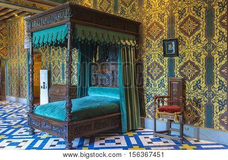 Blois, France - June 2016: In Katerina Medici bedroom in Blois castle