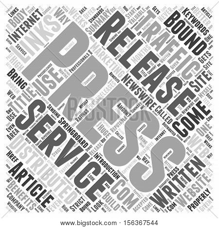 The Benefits of Press Releases word cloud concept