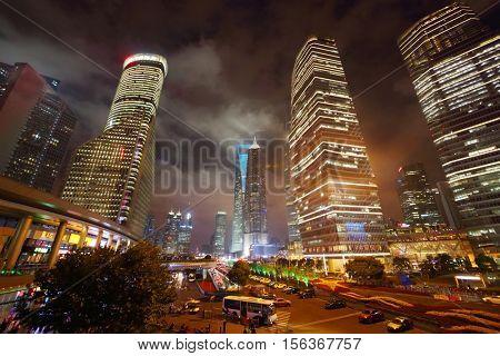 SHANGHAI, CHINA - NOV 6, 2015: Beautiful skyscrapers at night, China tallest skyscraper (Shanghai Tower) height of 630 meters
