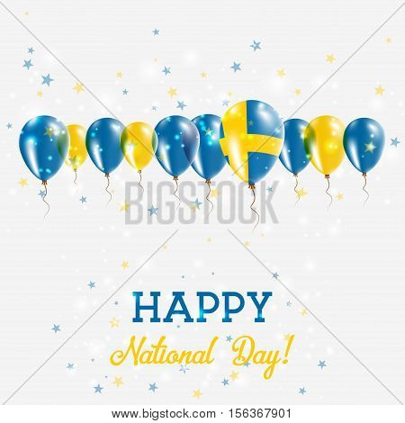 Sweden Independence Day Sparkling Patriotic Poster. Happy Independence Day Card With Sweden Flags, C