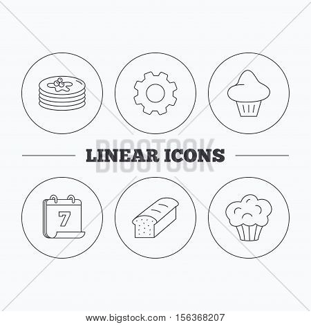 Pancakes, brioche muffin and toast bread icons. Cupcake linear sign. Flat cogwheel and calendar symbols. Linear icons in circle buttons. Vector