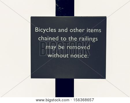 Vintage Looking Bycicles Sign