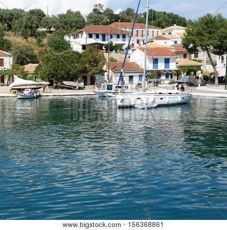 Vathi GREECE May 11 2013: Landscape with mooring and yacht in port on the Meganisi island. Ionian sea Greece.
