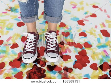 Sneakers Feet Casual Cheerful Party Shoes Concept