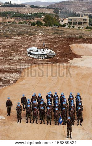 TYR, LEBANON-OCTOBER 21: Unidentified Turkish UN Soldiers on patrol on October 21, 2006 in Tyr, Lebanon