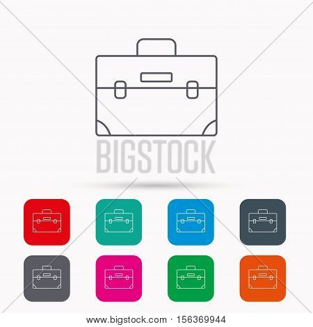 Briefcase icon. Businessman case or diplomat sign. Hand baggage symbol. Linear icons in squares on white background. Flat web symbols. Vector