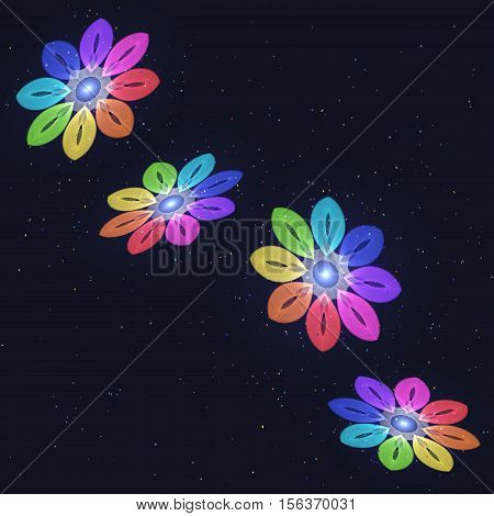 Abstract Stylized Rainbow Flovers on Starry Sky. Circular Patterned Ornament.