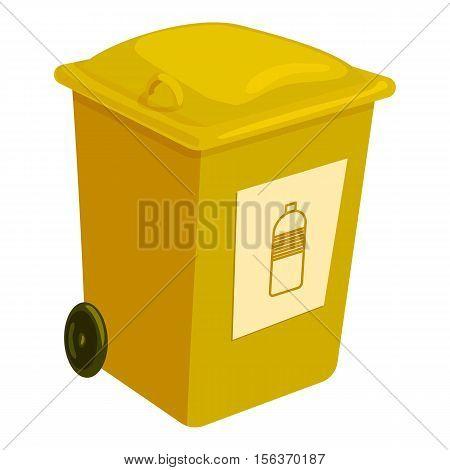 Yellow trashcan icon. Cartoon illustration of yellow trashcan vector icon for web
