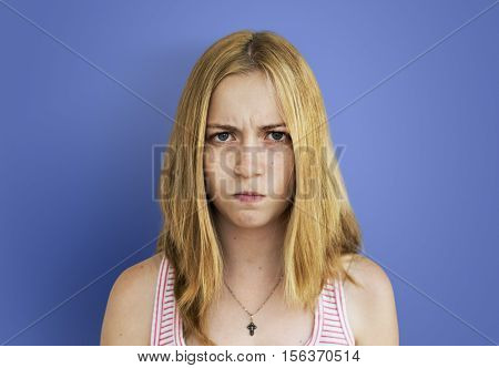 Young Girl Envy Irritated Concept