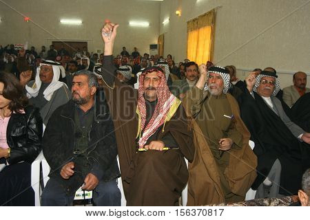 KIRKUK, IRAQ -FEBRUARY 3 :Arab parties are doing a press release to protest connecting Kirkuk to Kurdistan region on February 3, 2007 in Kirkuk,Iraq.