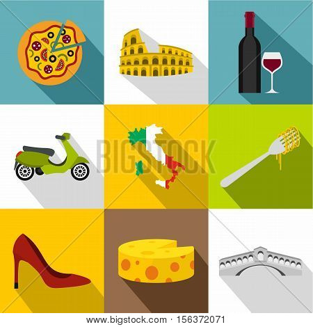 Attractions of Italy icons set. Flat illustration of 9 attractions of Italy vector icons for web