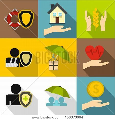Keeping icons set. Flat illustration of 9 keeping vector icons for web