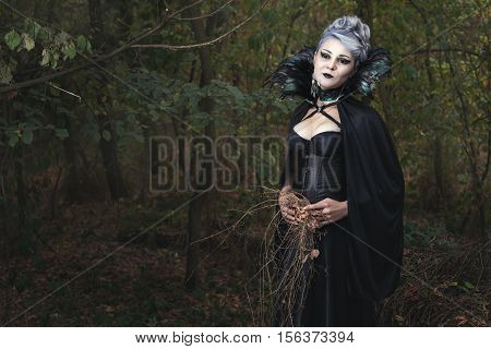 Woman in a black dress in the forest she was a witch and collects grass.