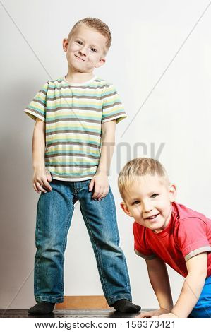Little Boys Have Fun Together At Home.