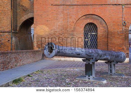 Cannon called 'Regina' at Castello Estense or castello di San Michele in Ferrara Italy